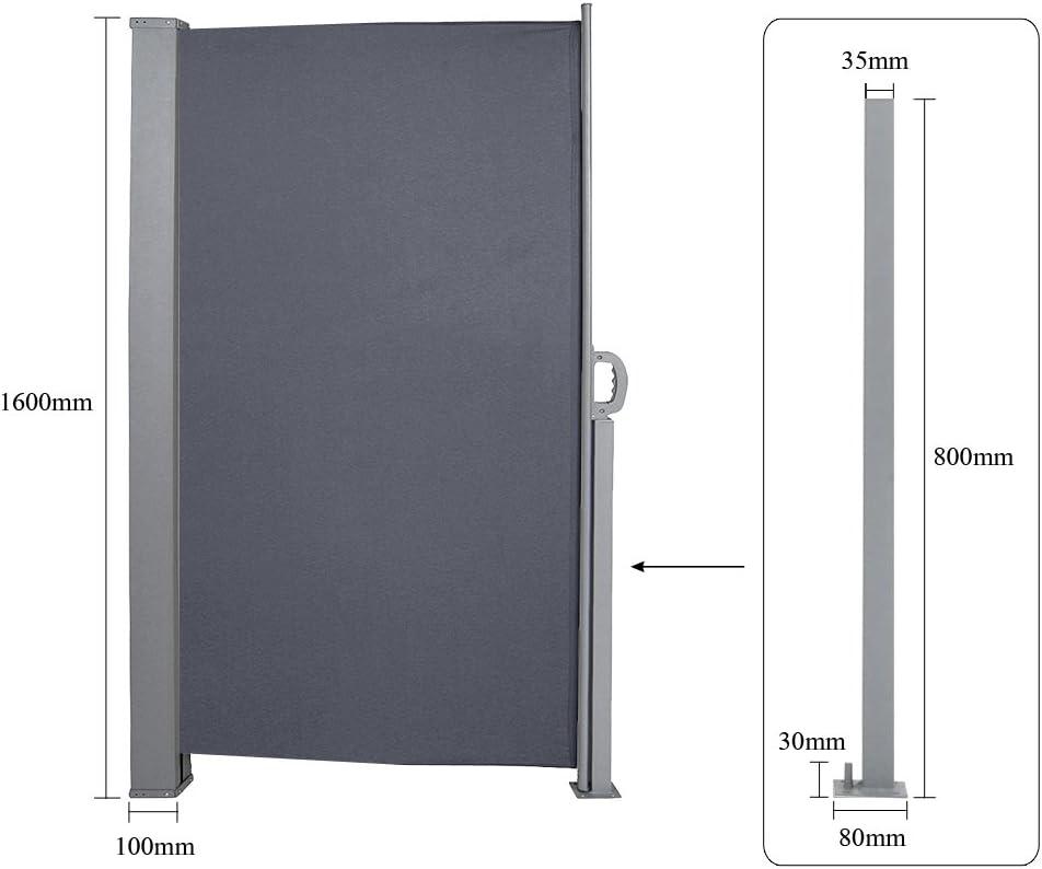 HG® 2 x Toldo Lateral (160 x 300 cm Toldo Wind Protección UV ...