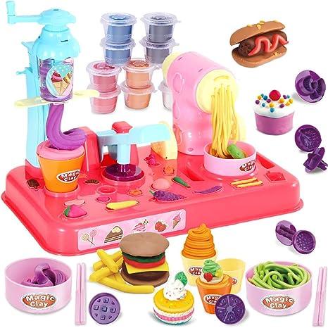 Amazon Com Jiashu Kids Play Dough Set Ice Cream Play Set Clay Dough Toy Tool Set Playsets Noodle Machine Fun Kitchen Toy For Kids Children Home Kitchen