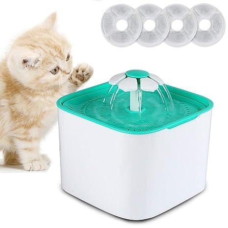 Domserv Fuente de Agua para Gatos, 2L Bebedero Perro Automatico, Dispensador de Agua Silenciosa con 4 Filtros de Carbón