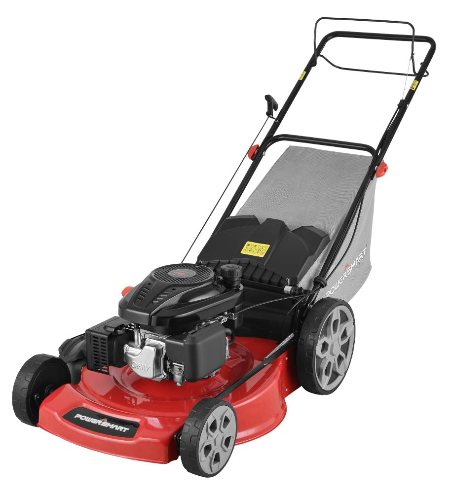 """Powersmart db2322s 22"""" 3-in-1 196cc gas self propelled lawn mower 2 powered by 196 cc engine delivering the right amount of power in a compact, lightweight package easy pull starting 3-in-1 bag, side discharge and mulching capability allows you to spread grass clippings to the side, returning key nutrients to your lawn so your grass can grow healthy and thick"""