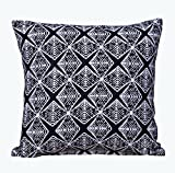 WOVENMOSAIC Triangle Woodblock Throw Pillow Cover or Cushion Cover 100% Cotton Jacquard Woven, 18 X 18 Inch, Throw Pillow Cover or Cushion Cover Color with Solid Backing