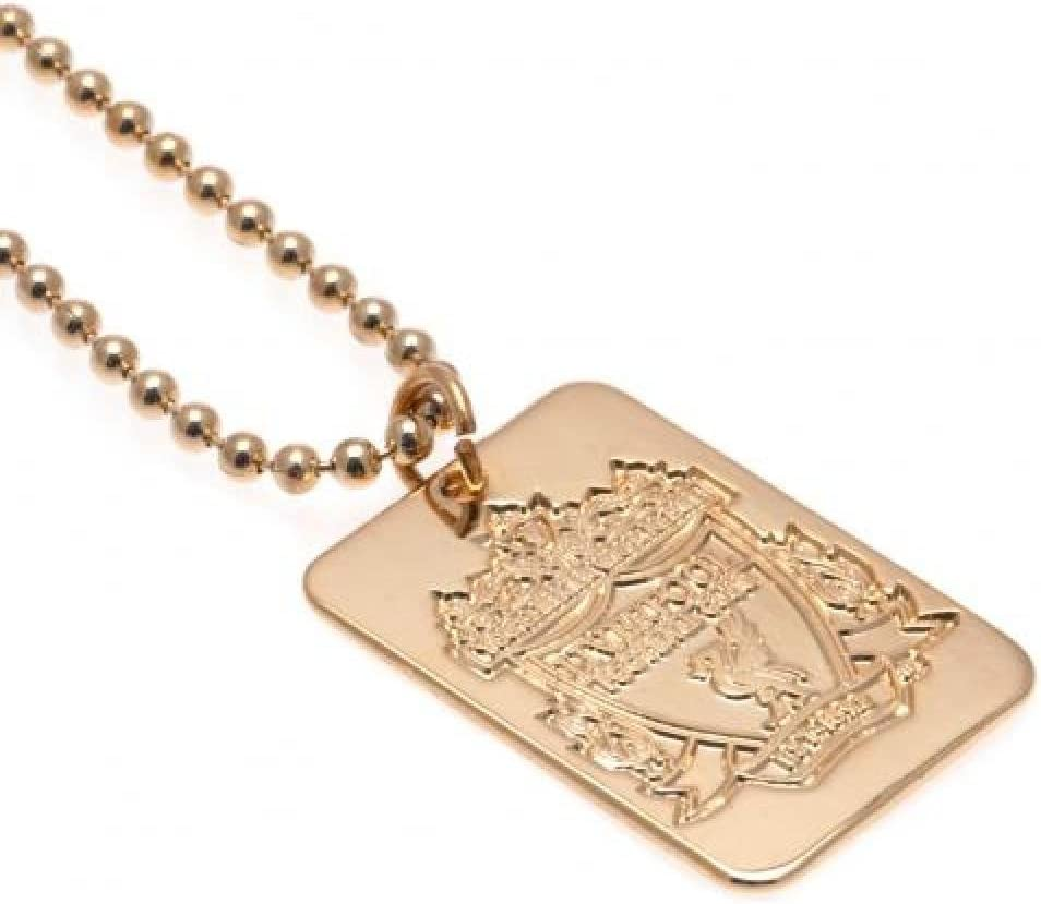 Birthday Gift Idea For Men And Boys Liverpool FC Official Football Gift Gold Plated Dog Tag /& Chain A Great Christmas
