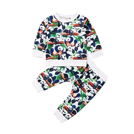Amazon.com  Fashion Toddler Baby Boy Girl Long Sleeve Cotton Black Panda  Tops Pants Outfits Set Clothes Casual Autumn  Clothing 502a8e96c
