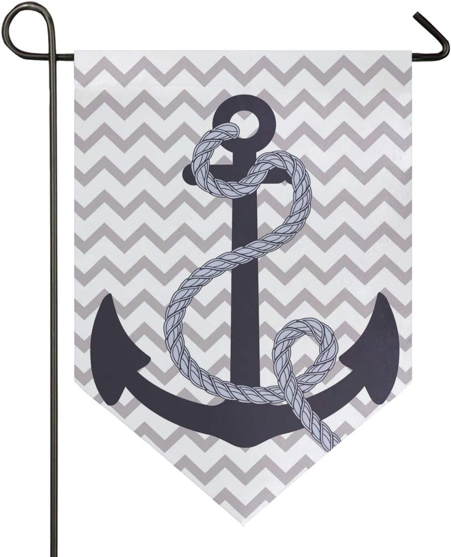 Aflyko Nautical Anchor Garden Flag Evergreen Flag Double Sided Decorative Outdoor Banner for Home Lawn Party, 12x18.5 Inch
