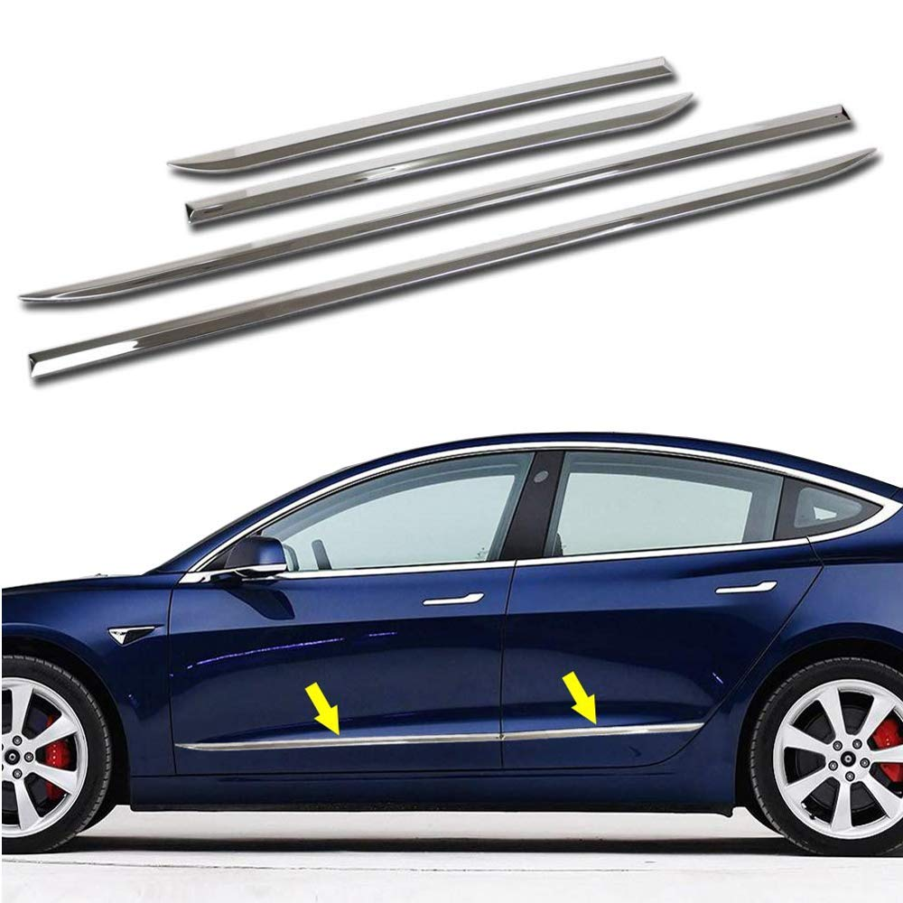 MotorFansClub Body Side Door Molding for Tesla Model 3 2017 2018 2019 Stainless Steel Protector Cover Trim Chrome