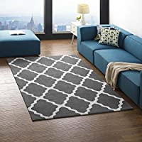 Modway Marja Moroccan Trellis 5x8 Area Rug With Lattice Design In Charcoal and Ivory