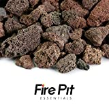 Fire Pit Essentials 10-pound 3/4″ Medium Red Lava Rock for Fireplace and Fire Pit