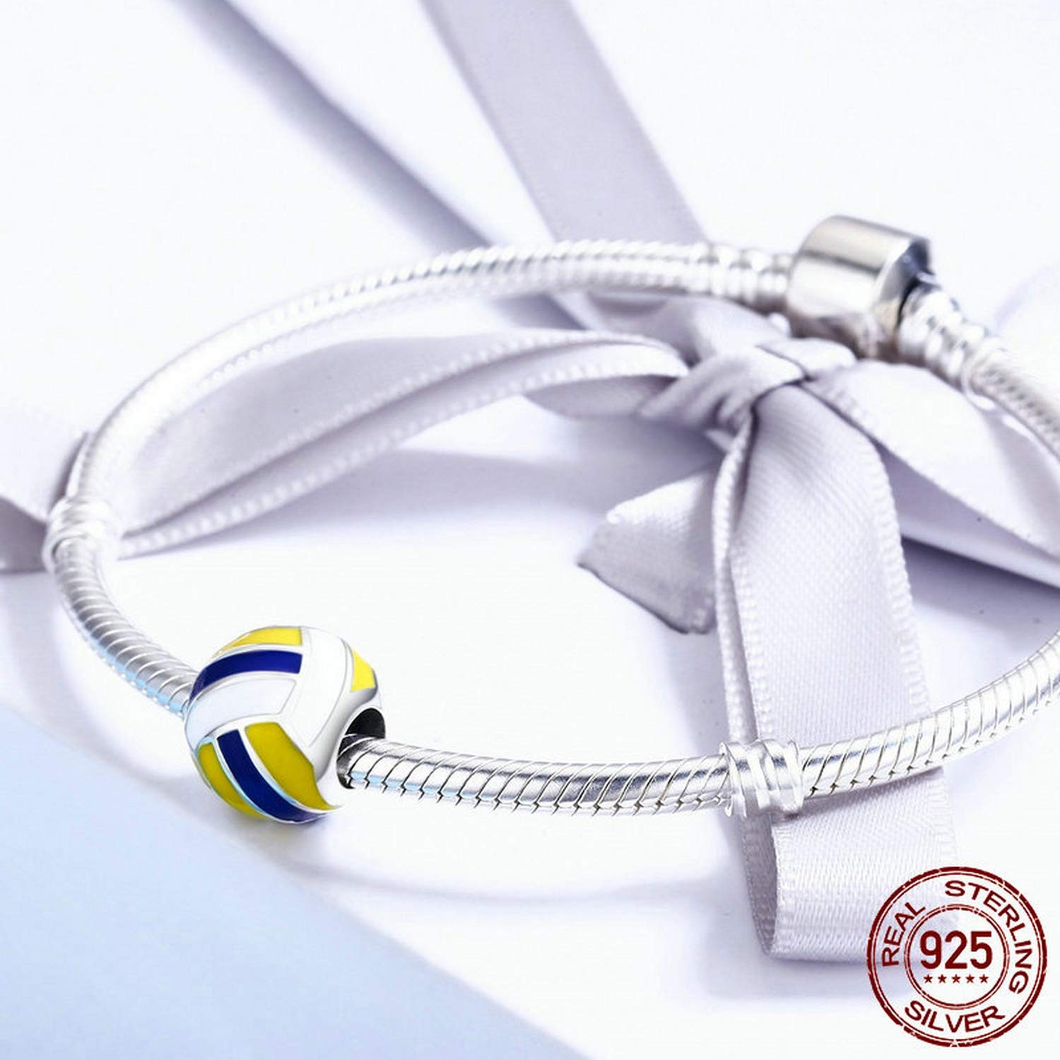 EverReena Volleyball Love Sport Ball Silver Beads Bracelets