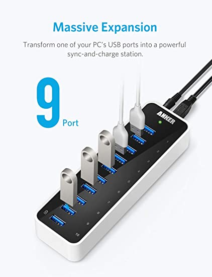 [Upgraded Version] Anker USB 3 0 SuperSpeed 10-Port Hub Including a BC 1 2  Charging Port with 60W (12V / 5A) Power Adapter [VIA VL812-B2 Chipset and