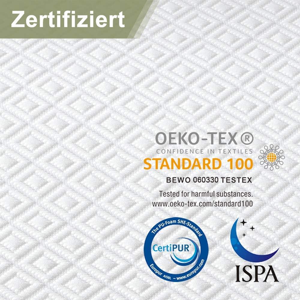 Mattress Topper Soutien Optimal Certifi/é Oeko-Tex 90 x 200 x 6cm sur Matelas Ergonomique de 6 cm avec Housse Hypoallerg/énique Amovible et Lavable viewstar Surmatelas 90 x 200 Memoire de Forme