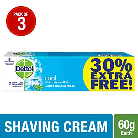 Dettol Cool Shaving Cream - 60 g (Pack of 3)  Extra 30% Free