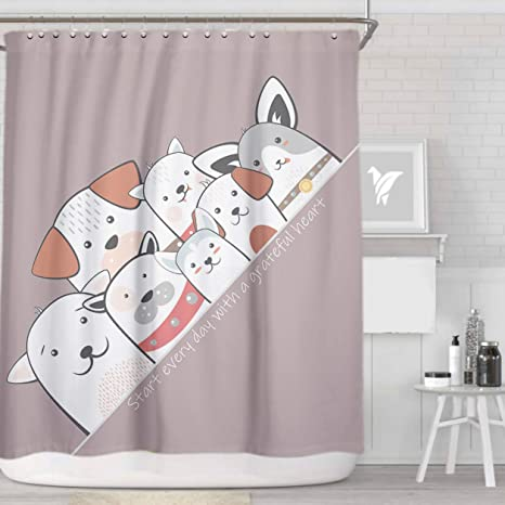 Pet Dog Pattern Shower Curtain with 12 Hooks Waterproof Fabric Bathroom 71in