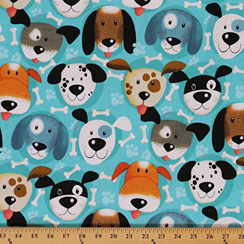 (Flannel Puppy Dog Dogs Faces Allover Bones Paw Prints on Blue Kids Flannel Fabric by The Yard (108-2851))