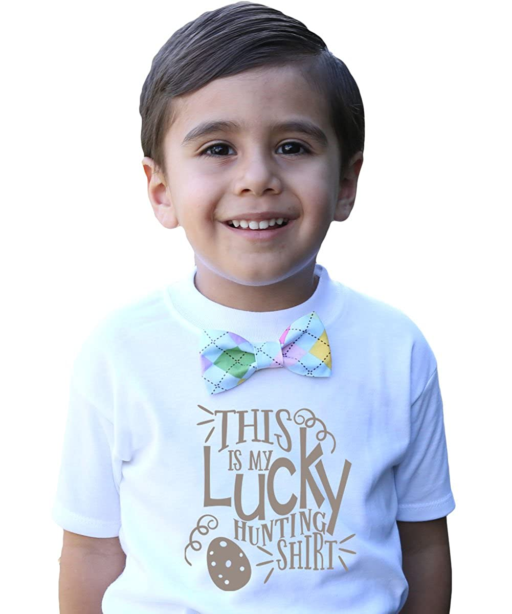81fb0c14226e Amazon.com: Noah's Boytique Baby Toddler Boy Easter Outfit Shirt Egg Hunting  with Bow Tie: Clothing