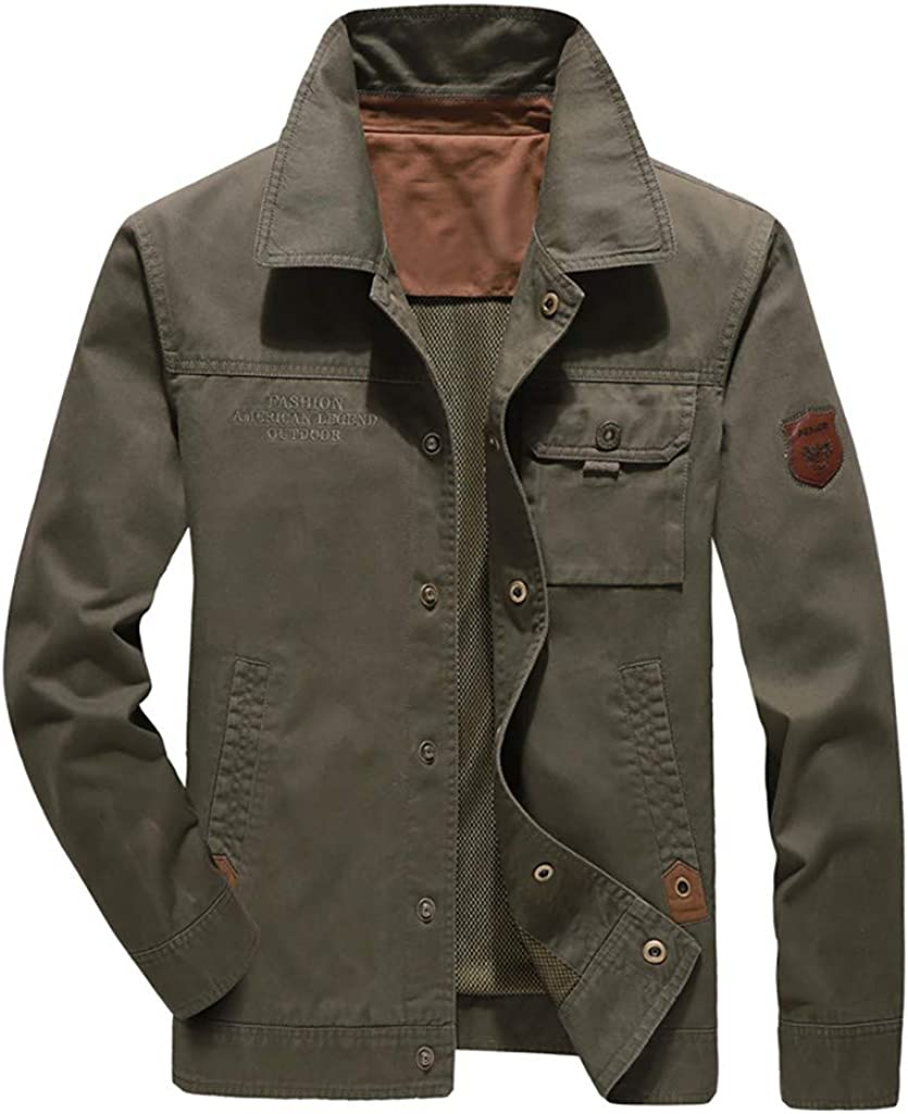 Teresamoon Mens Military Jacket Casual Outwear Pure Color Zipper Breathable Jacket Coat Autumn Winter