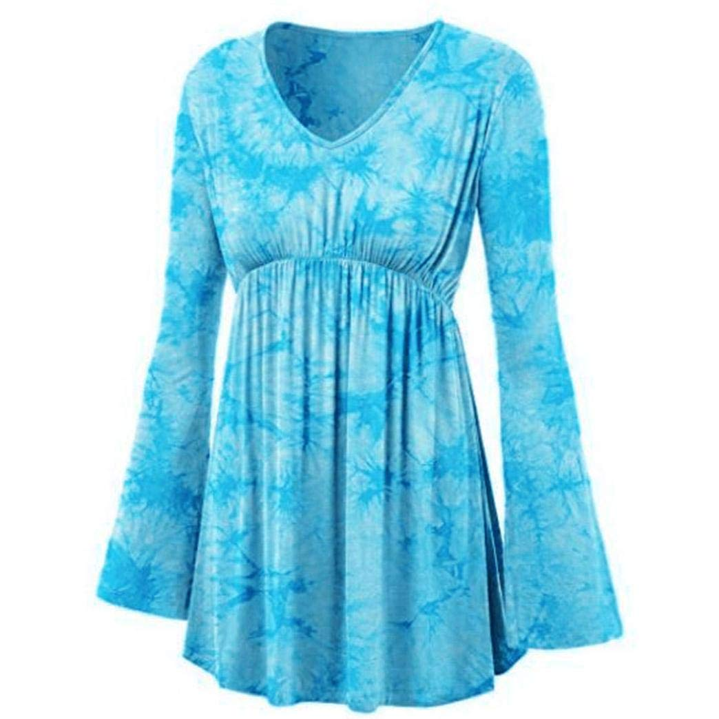 Vibola Tops for Women Clearance Sale, V-Neck Tie-dye Tunic Shirt Pleated Waist top 24522