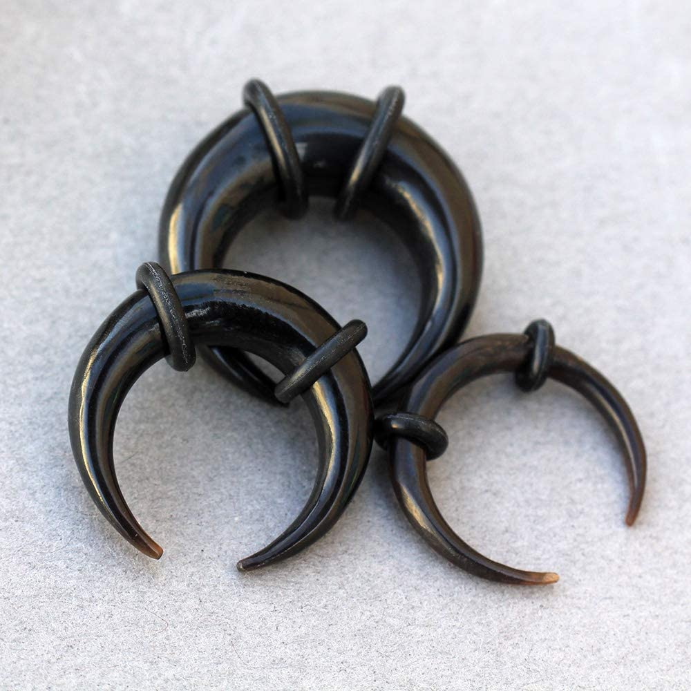 Cocobul Body Jewelry Pair of Organic Black Buffalo Horn Pincher Taper with O-Rings ////Choose Size////
