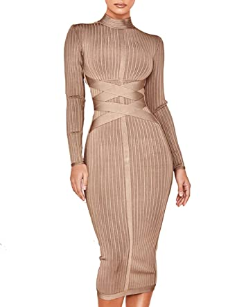 c1898b1c46d0 Whoinshop Women's Cross Strap Ribbed Bandage Long Sleeve Midi Fall Winter  Bodycon Party Dress (XS