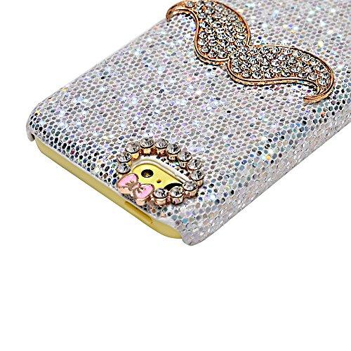 Coque iPhone 5C Mavis's Diary Étui Housse de Protection PC Rigide Bling Strass Sparkle Phone Case Cover Argent Bling Strass Barbe Nœud Papillon Téléphone Portable + Chiffon