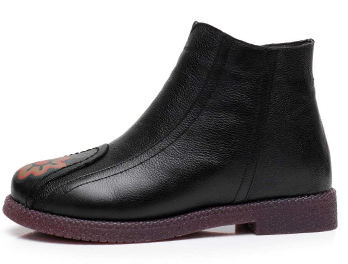 f5ccea0bcfecd0 Shiney Damen Baumwolle Schuhe Leder National Style Printed Printed Printed  Plus Samt Warme Stiefeletten Retro Winter 5c5141