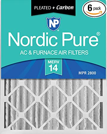 Nordic Pure 10x24x1 MERV 12 Pleated Plus Carbon AC Furnace Air Filters 3 Pack 3 Piece