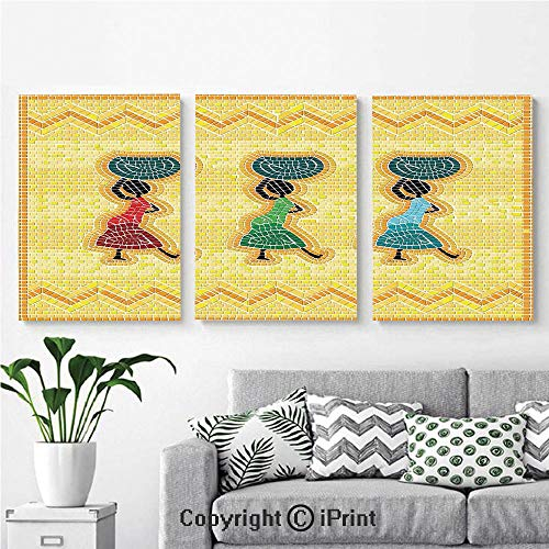 Canvas Prints Modern Art Framed Wall Mural Mosaic Pattern of an African Scene with Women Carrying Food Basket Traditional for Home Decor 3 Panels,Wall Decorations for Living Room Bedroom Dining Room (Scene Art Mosaic Tile Mural)