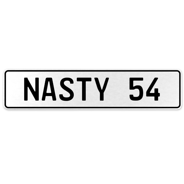 Vintage Parts 556928 Nasty 54 White Stamped Aluminum European License Plate