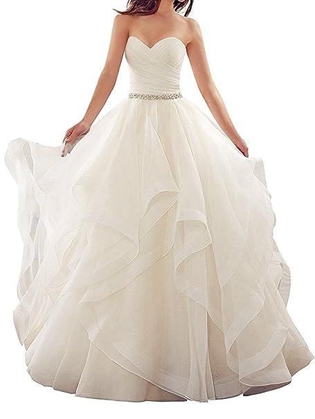 Amazon.com: qibinfs Mujer Volantes Vestido de novia vestido ...