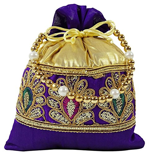Mujeres Tradicionales Diseño Floral Bolsa Potli Embrazo nupcial hecho a mano - Elija el color Púrpura