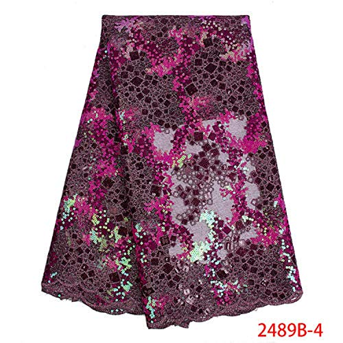 2019 African Lace Fabric Organza French Net Embroidery Sequins Tulle Lace Fabric for Nigerian Party Dress,Picture 4