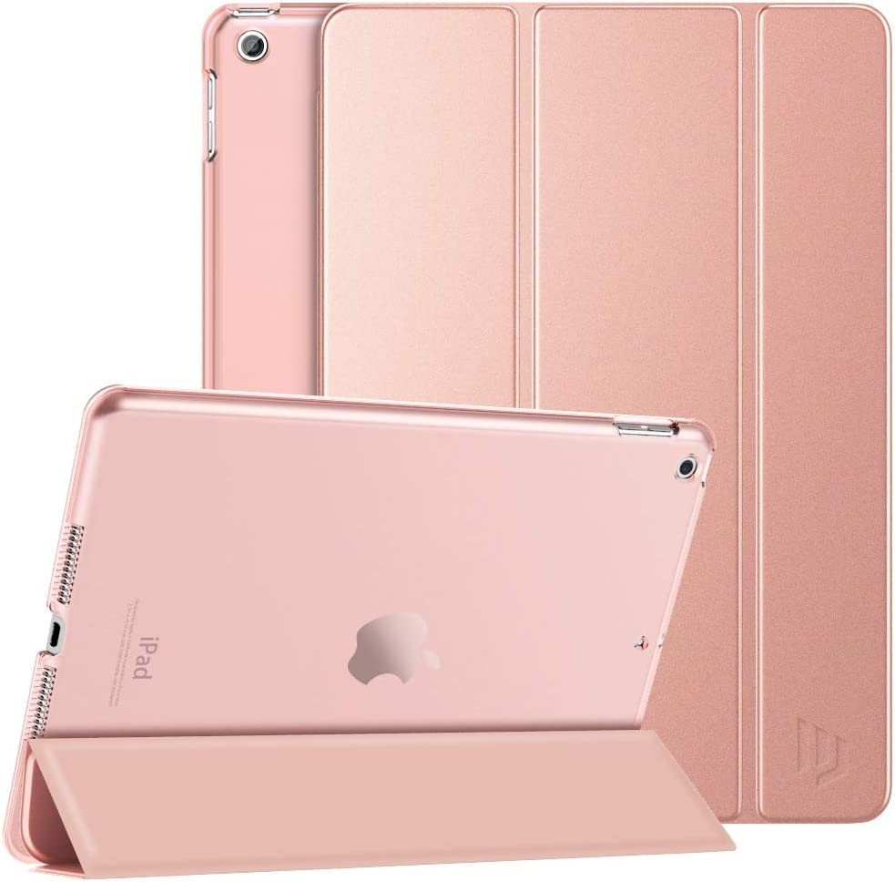 Dadanism iPad 8th Generation Case 2020/iPad 7th Generation Case 2019, [Shock Absorption] Ultra Slim Lightweight Trifold Stand Smart Cover for iPad 10.2 inch 2020/2019 Release Tablet, Rose Gold