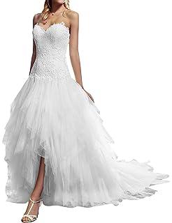 d5f15d7978a VKStar® Robe Asymétrique Mariée Femme Tulle Dentelle Robe Bustier Mariage  Femme Longue Robe de Mariée