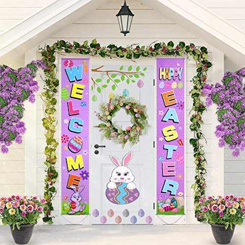 Blulu Easter Decoration Set Easter Porch Sign Welcome Happy Easter Banner Easter Poster Door Hanger for Spring Indoor/Outdoor Easter Door Decoration Party (Purple)