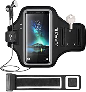 Galaxy S20+ S10+ S9+ S8+ Armband, JEMACHE Gym Running Workouts Arm Band Case for Samsung Galaxy S20 Plus/S10 Plus/S9 Plus/S8 Plus with Key Holder (Black)