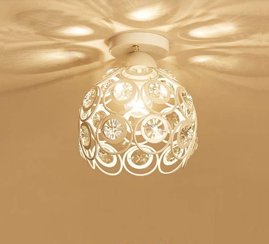Moderno Lámpara de techo de Cristal 20cm Plafón E27 Iluminación Dormitorio Sala de estar Baño Pasillo (Blanco)