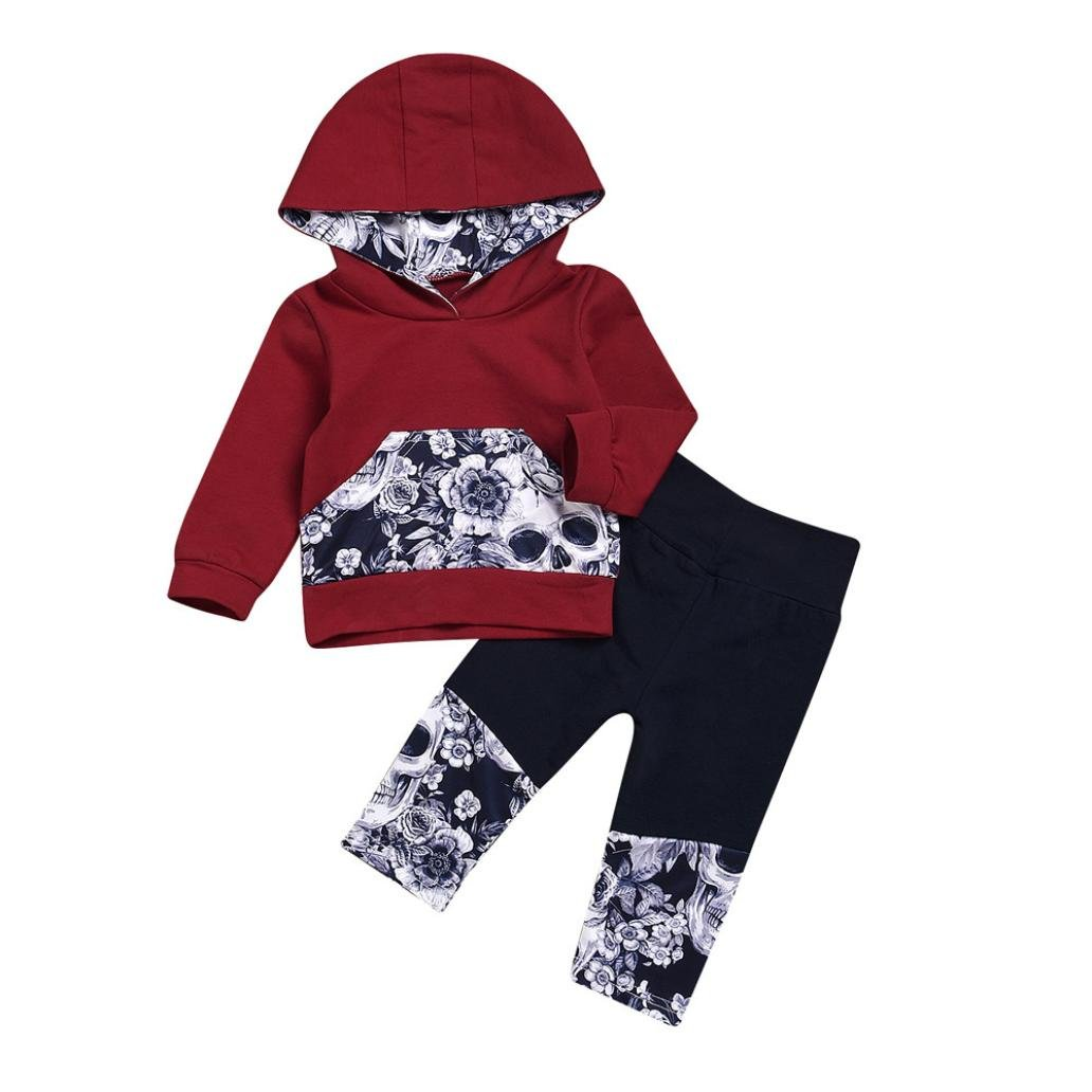 Nevera 2Pcs Toddler Girls Boys Flower Skull Bone Hooded Tops+Pants Outfits Set (Wine, 6M)