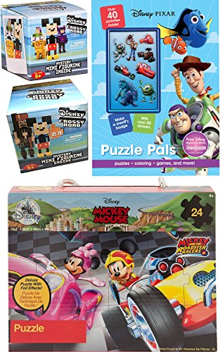(Puzzle Time Crossy Road Disney Pixelated Figure Pack Series 1 Blind Box + Series 2 8-Bit Figure & Mickey Roadster Racer Jigsaw + Activity Book Pixar Pals Stickers / Mazes / Searches & More)