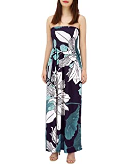 fa5be887b9 HDE Women's Strapless Maxi Dress Plus Size Tube Top Long Skirt Sundress  Cover Up