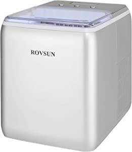 ROVSUN Ice Maker Machine Countertop, Make 44lbs Ice in 24 Hours, Compact & Portable Ice Maker with Ice Basket for Home, Office, Kitchen, Bar (Silver)