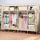 GL&G Portable Fabric Closet Wardrobe Cabinet Garment Clothing Storage Organizer with Shelves Solid wood portable Double People Cloth Wardrobe,N,80''70''