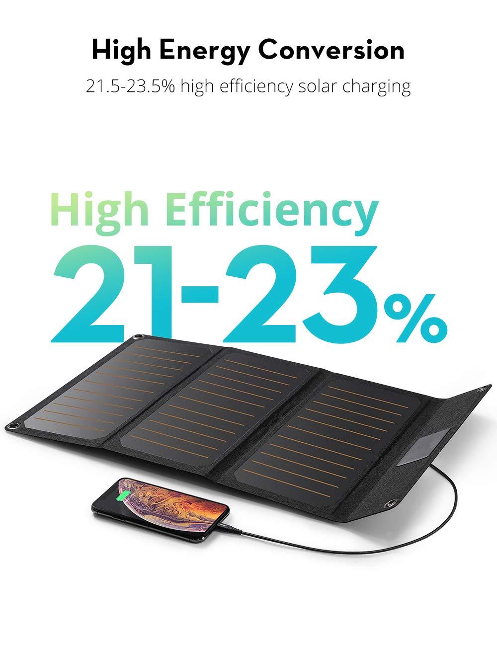 Amazon.com: RAVPower - Cargador solar de 21 W con doble ...