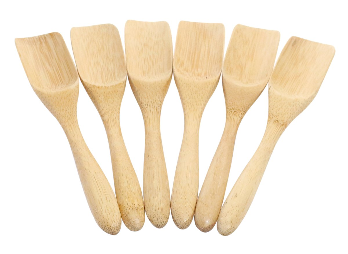 Lightweight Natural Bamboo Wood Tea Scoop Set - Pack of 6