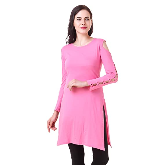 bdf142be20eda Kiba Retail Trendy Women s Off Shoulder Cold Shoulder Designer Sleeves  Plain Long Top New Stylish Casual Wear Round Neck Straight Long Top for  Women Girl ...