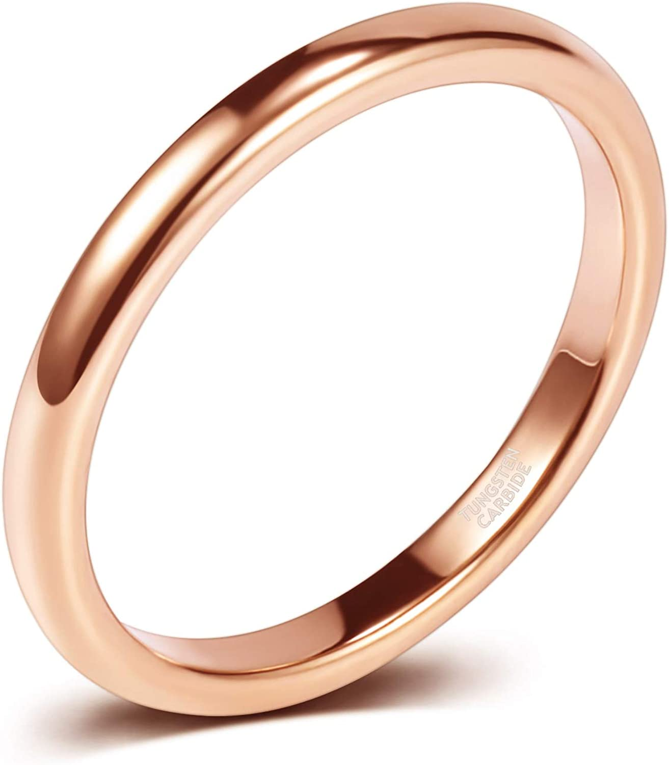 It is a photo of SOMEN TUNGSTEN 411mm Thin Tungsten Carbide Ring Wedding Band Rose Gold/Silver High Polish Comfort Fit Size 41-1411