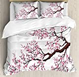 Japanese Duvet Cover Set by Ambesonne, Branch of a Flourishing Sakura Tree Flowers Cherry Blossoms Spring Theme Art, 3 Piece Bedding Set with Pillow Shams, Queen / Full, Pink Dark Brown