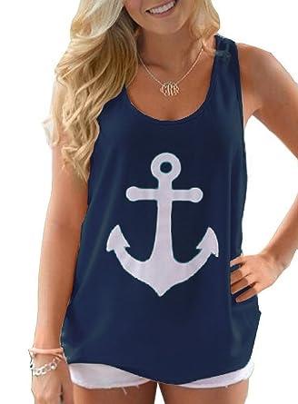 eb383046f6f4 Amazon.com  Voguegirl Women Boat Anchor Print Sleeveless Tank Tops Vest  Blouse Navy1 Small  Clothing