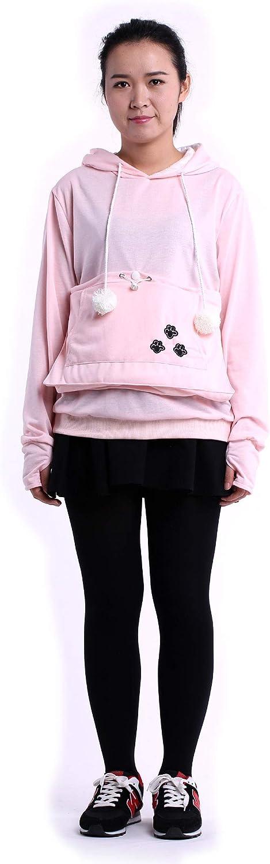 SAIANKE Womens Hoodies Pet Holder Cat Dog Kangaroo Pouch Carriers Pullover