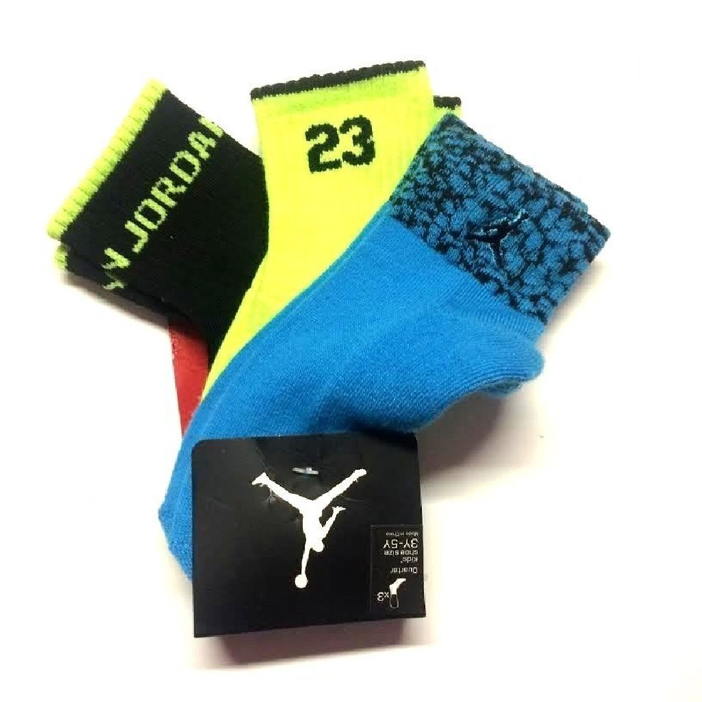 Nike Air Jordan Boys Elephant Print 3 Prs Quarter Socks