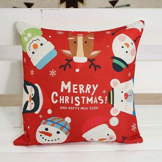 LIJIAYANG Textil Almohada de Navidad Cojín de Lino de ...