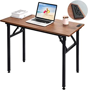 Frylr Small Computer Desk Folding 31.5''X 15.7''X 29'' with 2 Power Sockets and 2.1A USB Charging Ports, Office Desk Portable Student Writing Desks for Small Space, Home Office, Walnut+ Black Leg